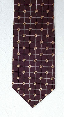 Rodos burgundy check tie with gold flowers